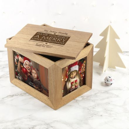 Personalised Merry Christmas Midi Oak Photo Cube Keepsake Box